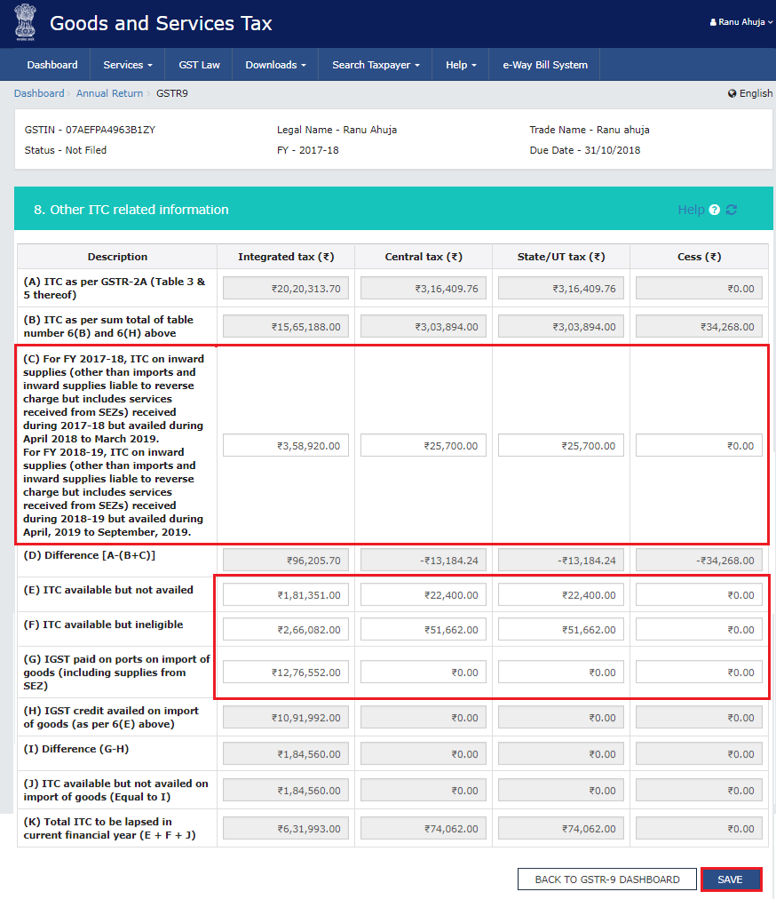 Other ITC related information to be filled in row C, E, F and G of the table in Form GSTR-9