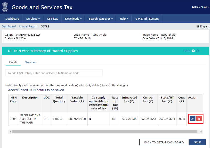Adding or deleting buttons to add/delete HSN details in Form GSTR-9