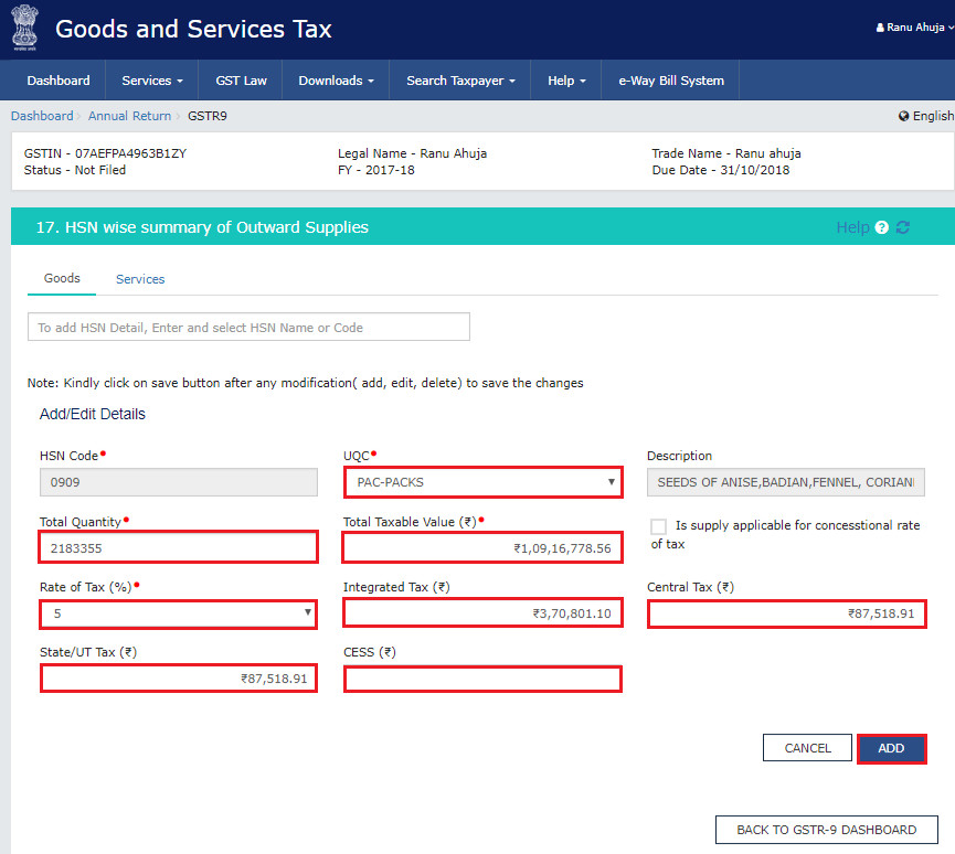 HSN wise summary of outward supplies in Form GSTR-9