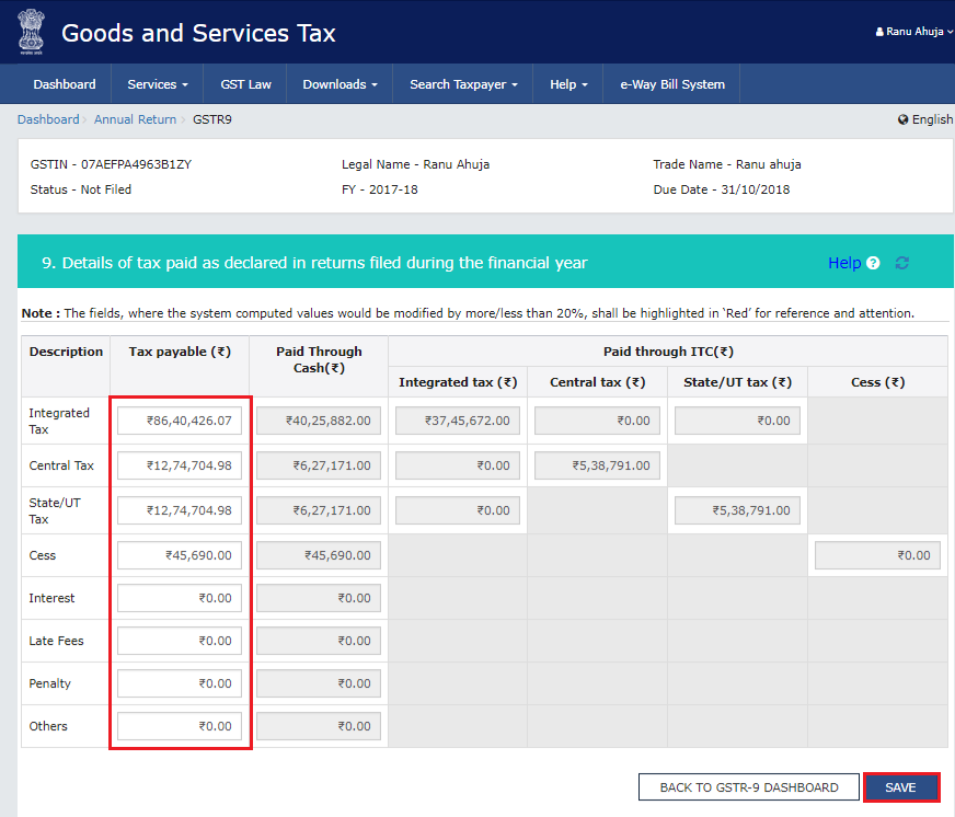 Details of tax paid as declared in returns filed during the financial year in Form GSTR-9
