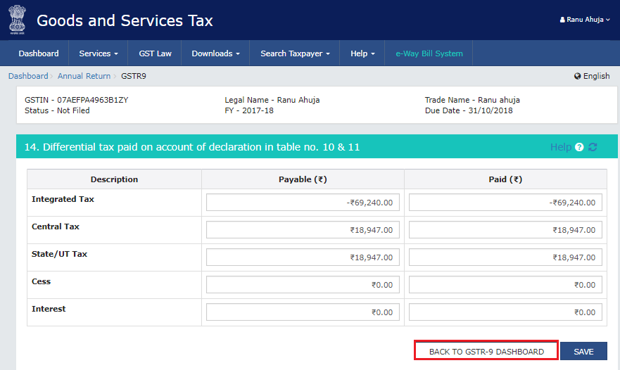 Going back to the GSTR-9 dashboard as a part of process to file GSTR-9