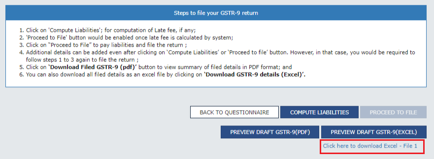 How to download excel file of the draft form GSTR-9?