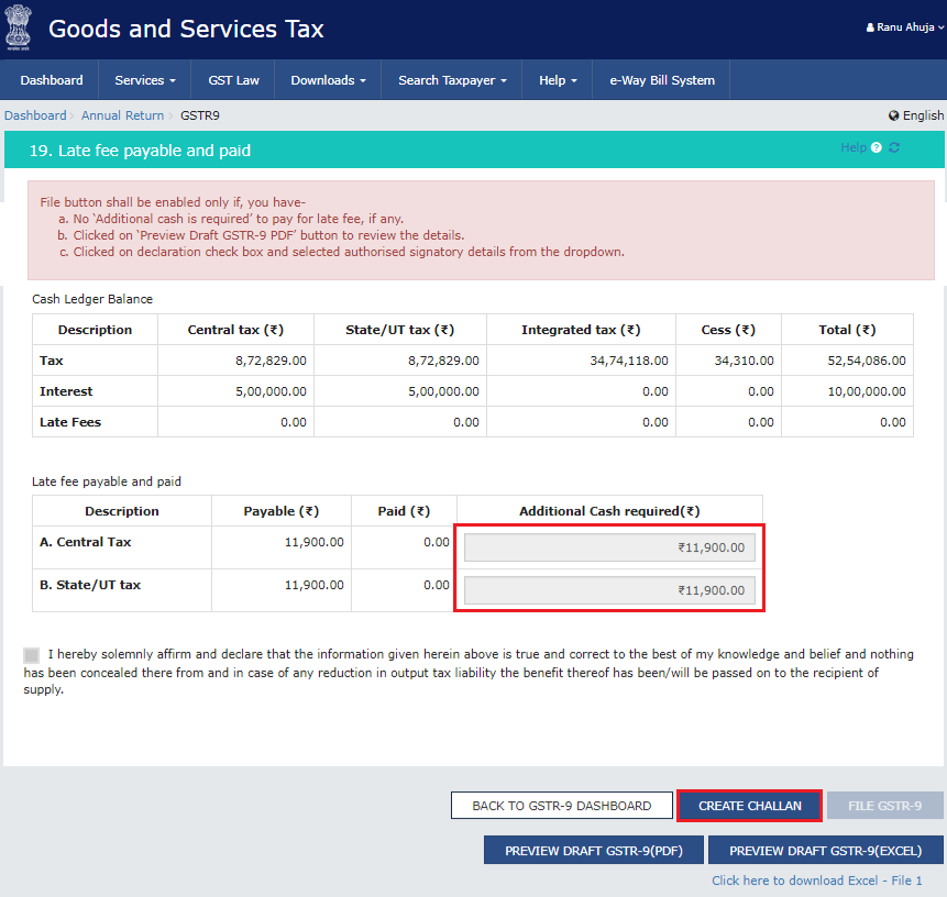 If Available Cash Balance in Electronic Cash Ledger is Less Than the Amount Required to Offset the Liabilities of GSTR-9