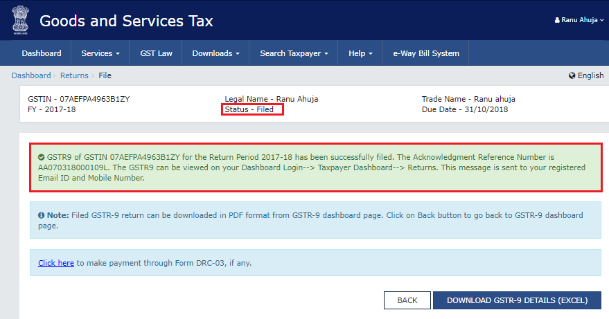 ARN is generated and the status is changed after successful filing of GSTR-9
