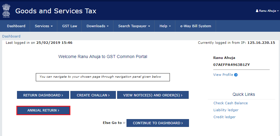 Alternative way for accessing the annual returns dashboard to file GSTR-9