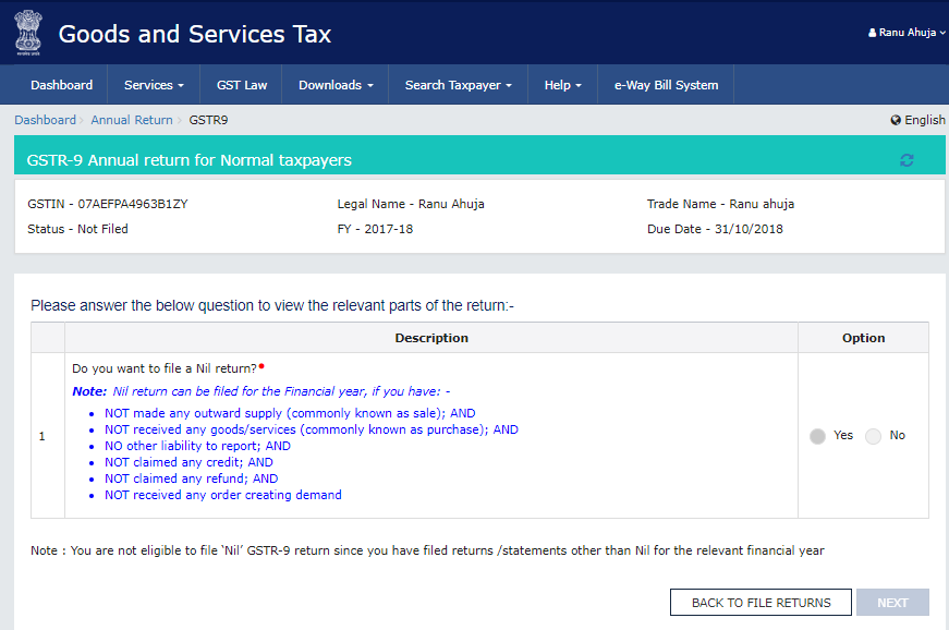 Answering the question to proceed to the next screen to file GSTR-9