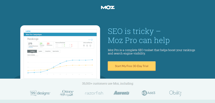 Click-Through Landing Page Example 2: Moz Pro