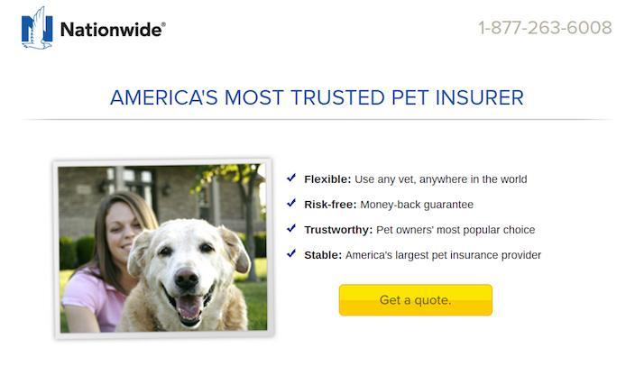 Click-Through Landing Page Example 6: Nationwide Pet Insurance
