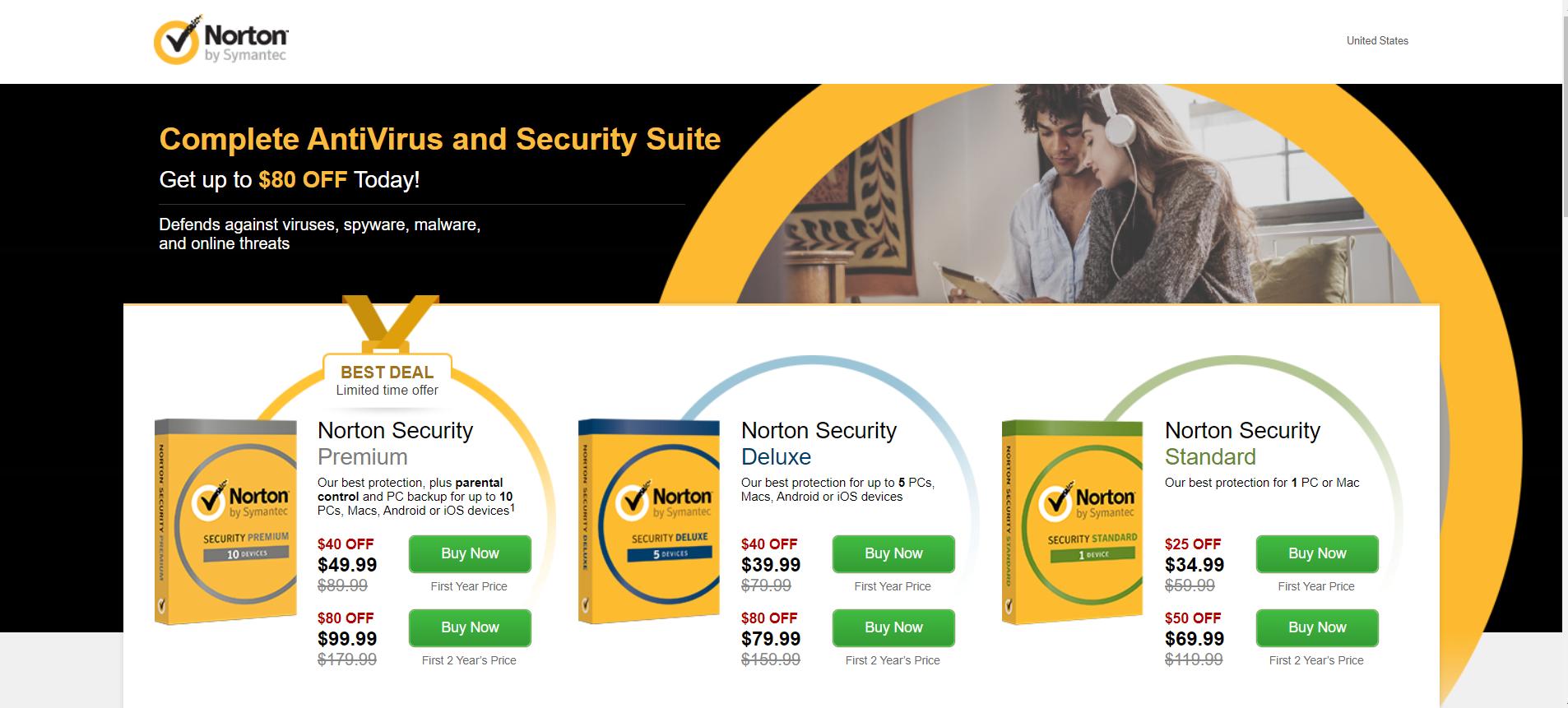 Click-Through Landing Page Example 8: Norton Antivirus