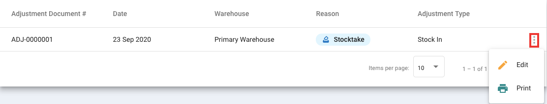 Edit the stock adjustment details