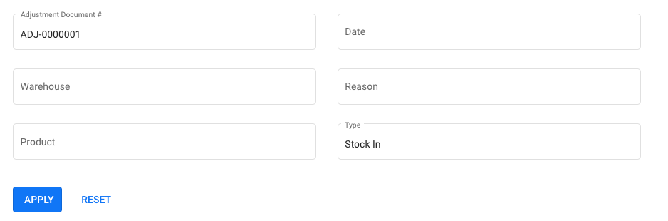 Use the filter option to search the stock adjustment record