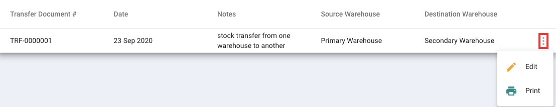 Edit the stock transfer information