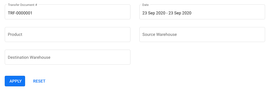 Use the filter option to search for your stock transfer