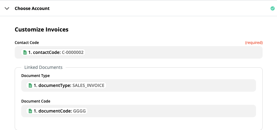 Fill in the fields in the customize invoice section