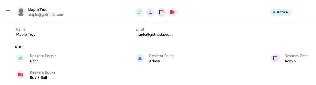 User's access to other products on Deskera's cloud