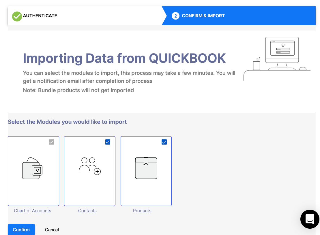 Select the Modules to import your data from Quickbooks/Xero