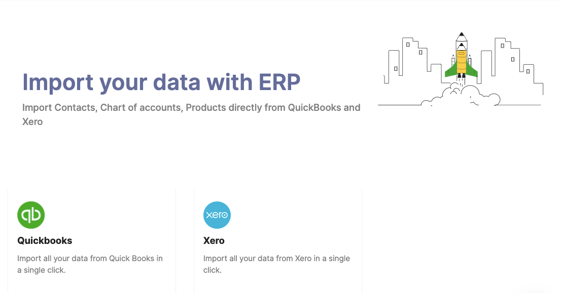 Choose to import your data from Quickbooks or Xero
