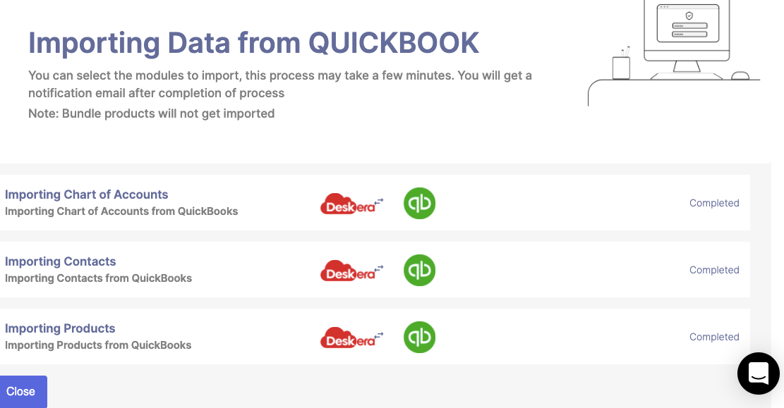Import data from Quickbooks to Deskera shown as completed