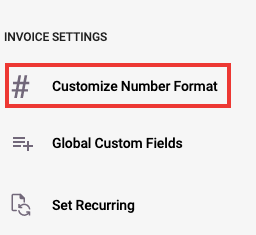 Click on the customize number format