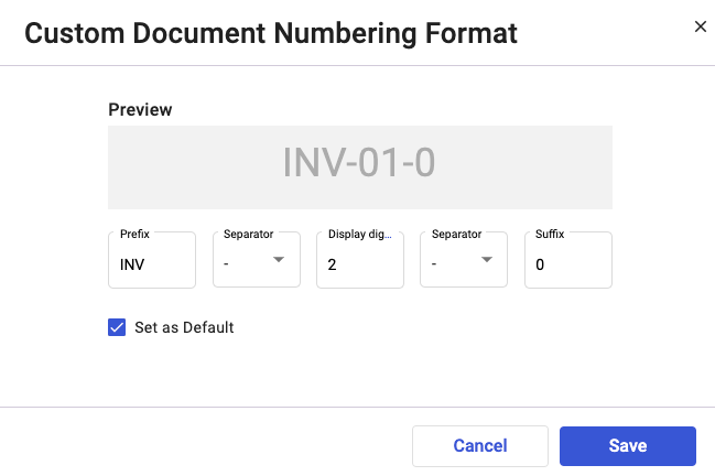 Customize the document numbering format as you prefer