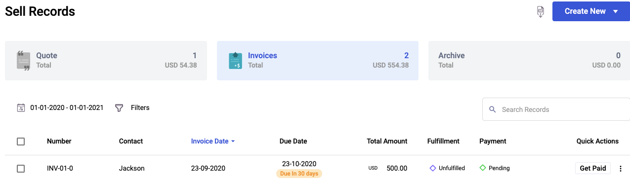 The customized invoice numbering as saved