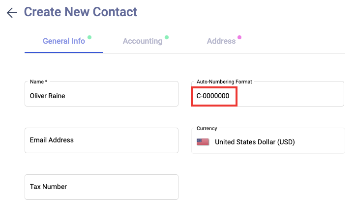 Auto-numbering format for contact creation