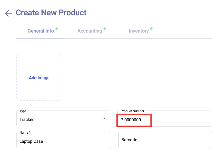 Customize the product's number during product creation