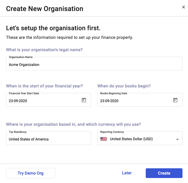 Create your organization