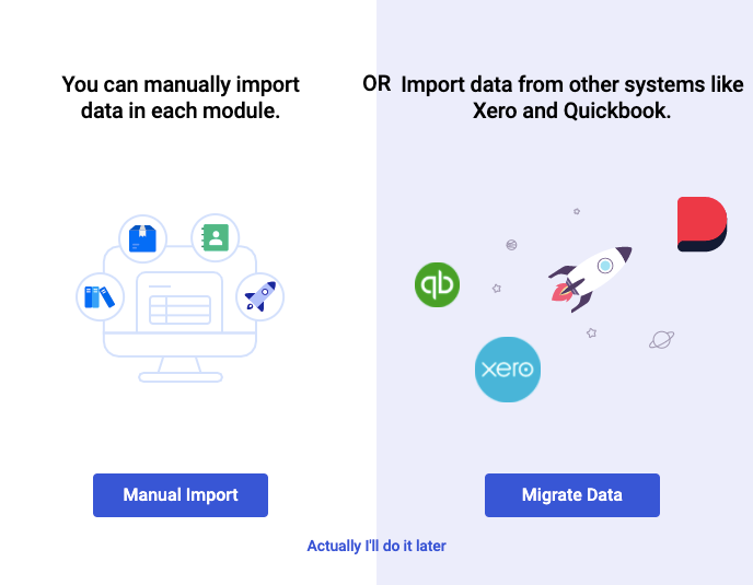 Choose to manually import data or migrate data in bulk