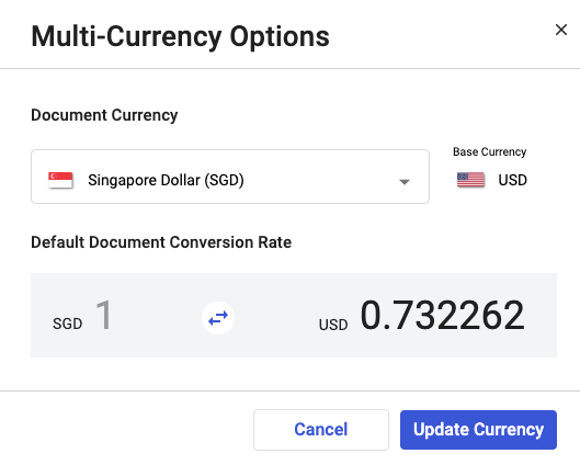 Update the currency during invoice creation