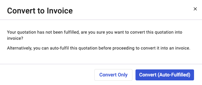 Click on the convert to Invoice button on the Quote page.