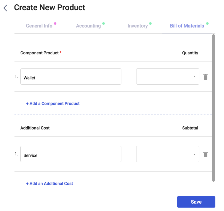 Fill in the bill of materials section during product creation