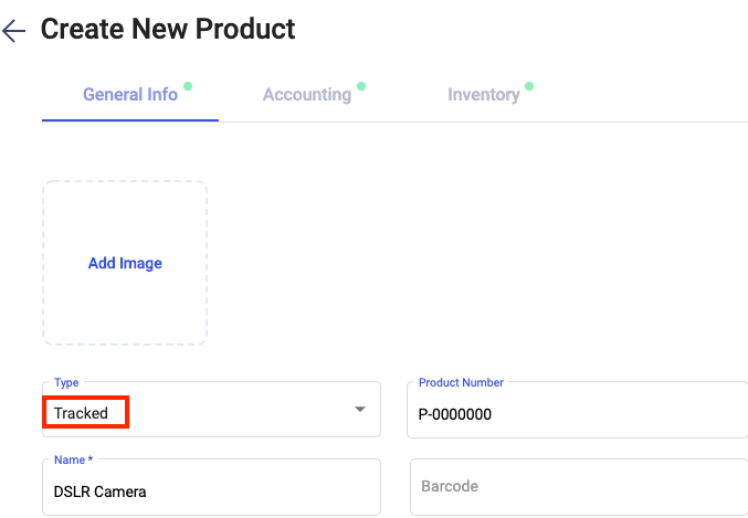 """Select the product type as """"tracked"""""""