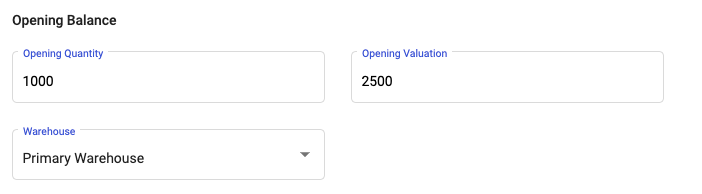 Indicate the opening balance and valuation for the product