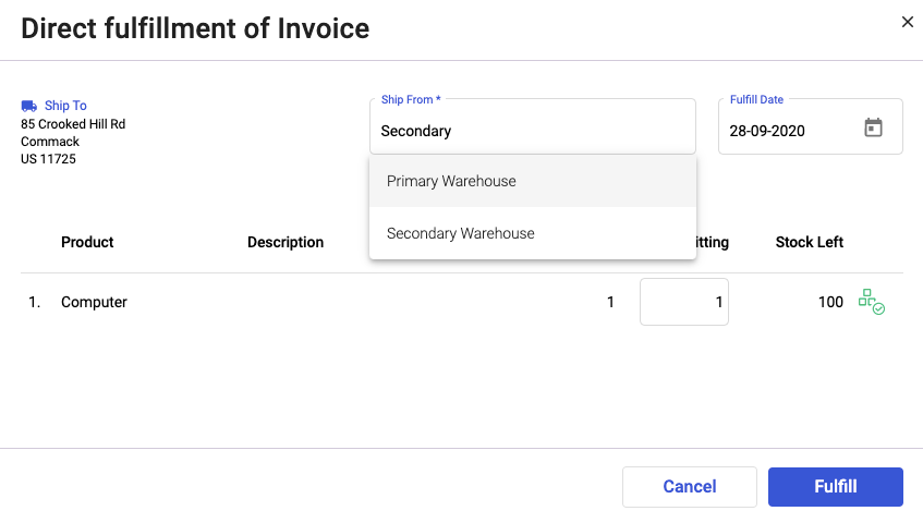 Select the ship from warehouse during invoice fulfillment