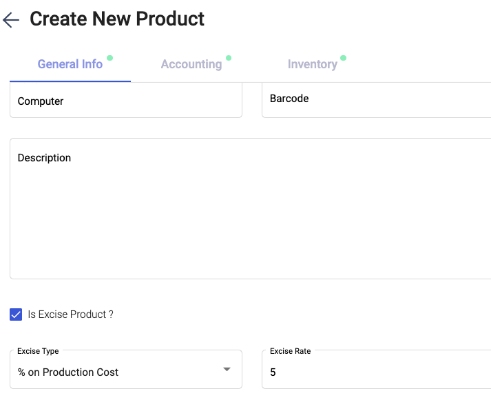 Tick the checkbox button to enable the excise product