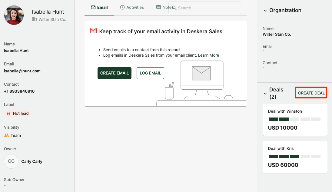 Create a deal directly in the contact page
