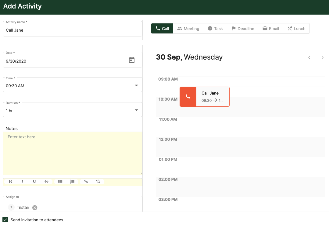 Create an activity and assign it to the users in the system