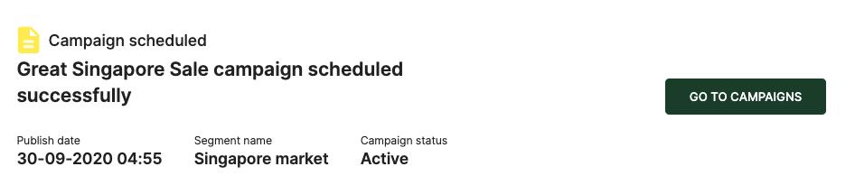 Campaign scheduled successfully