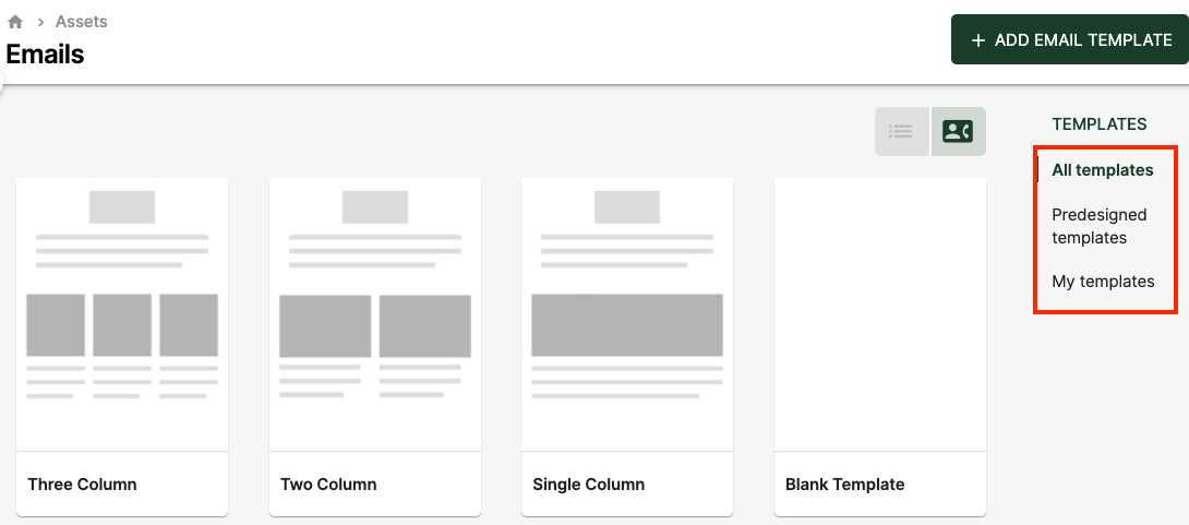 You can add your own email template in the system