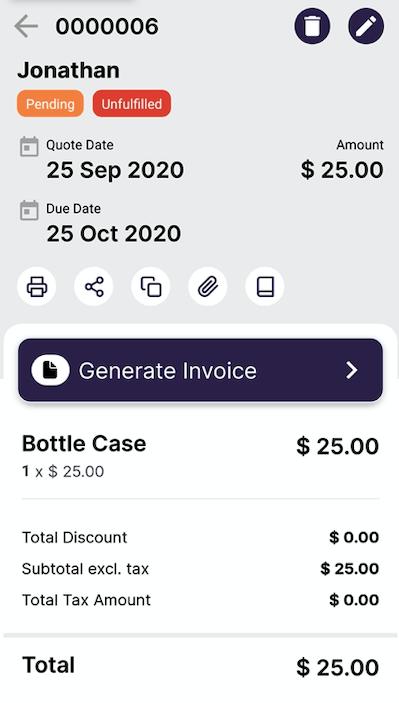 Convert quote to invoice