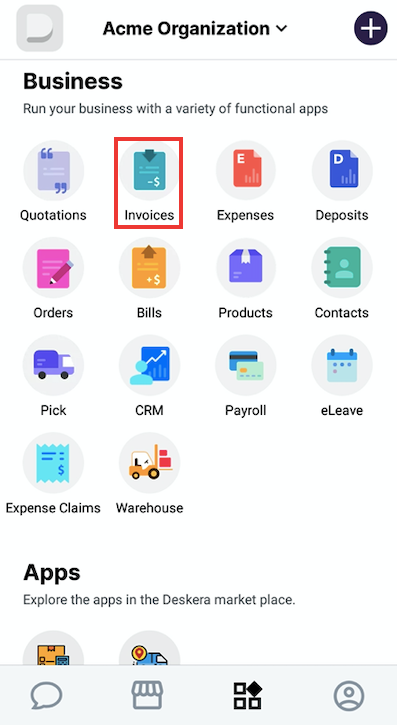 Tap on the invoice module