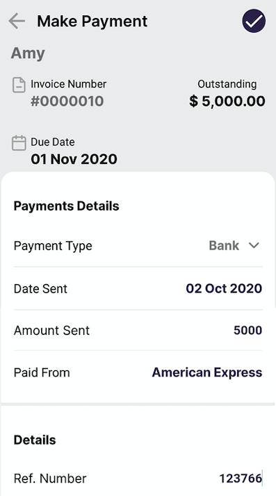 Indicate the payment details