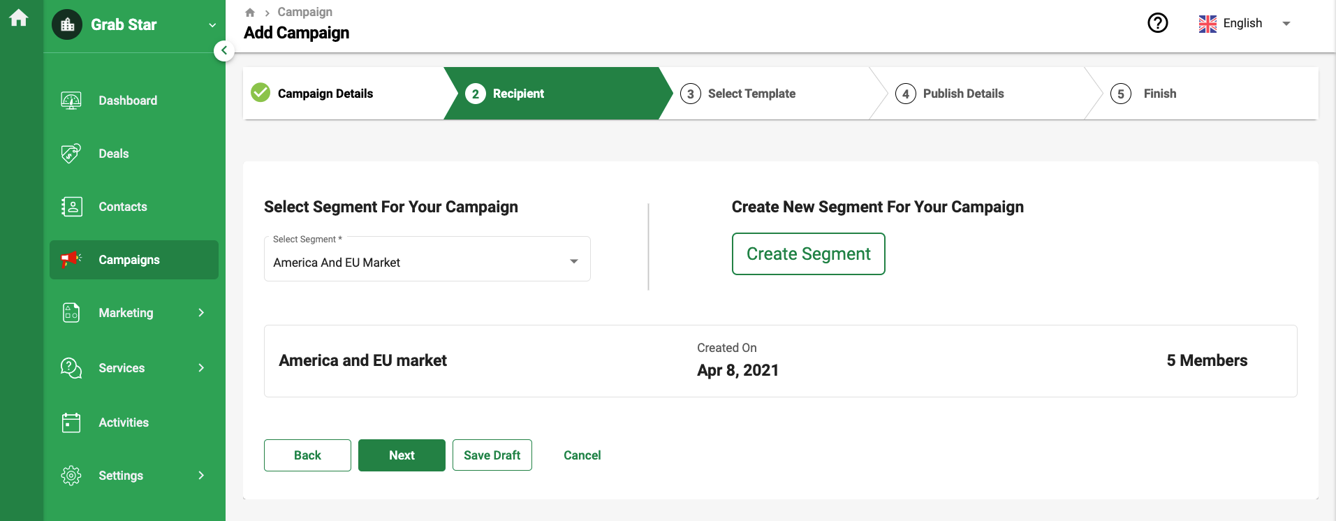 Select the right segment and click Next