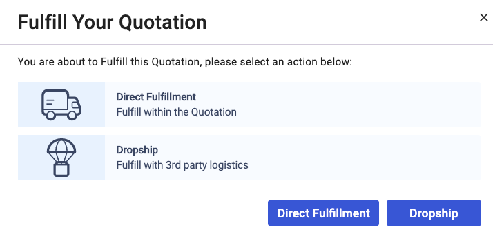 Select the Direct button to fulfill in the Quote document.