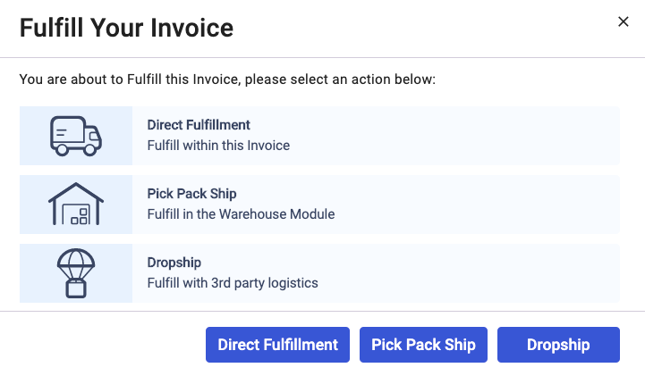 Fulfill your invoice using dropship method