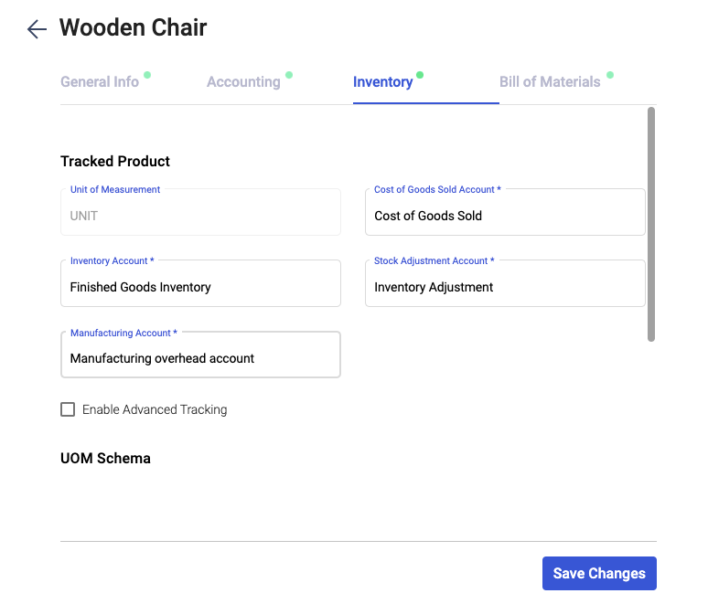 Fill in the inventory section during product creation