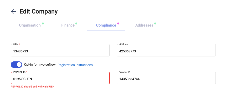 Indicate your PEPPOL ID in the company page