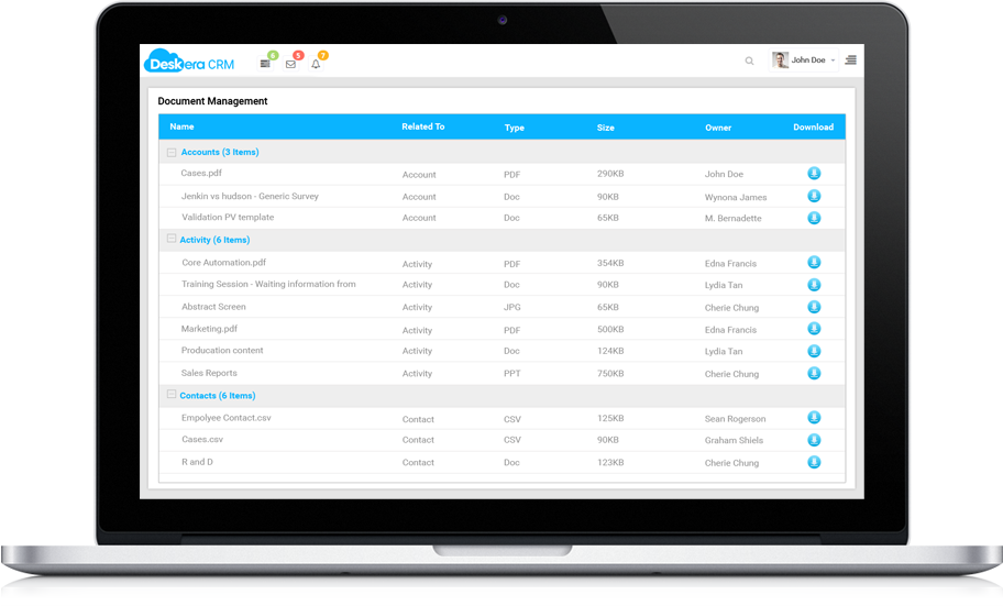 Deskera CRM Document Management